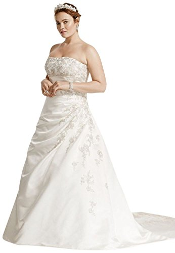 A Line Plus Size Wedding Dress With Lace Up Back Style 9v9665 White