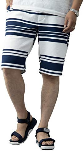 ハーフパンツ メンズ ワッフル シアサッカー 型押し ストレッチ ランダムボーダー柄 長目 膝下 白 黒 紺 青 ショートパンツ ショーツ イージーパンツ カジュアル ルームウェア 部屋着 パジャマ リラクシングウェア