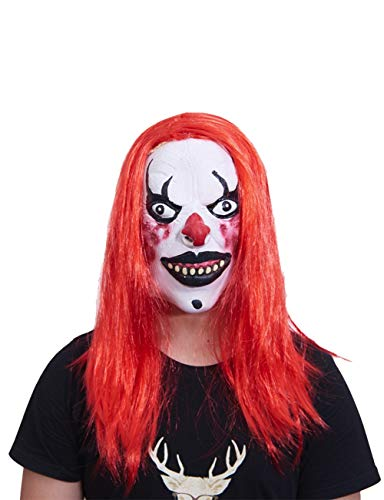 Halloween Props Horror Ghost Faces Ghost Festival Latex Head Cover Red Hair White Face Clown Scream -