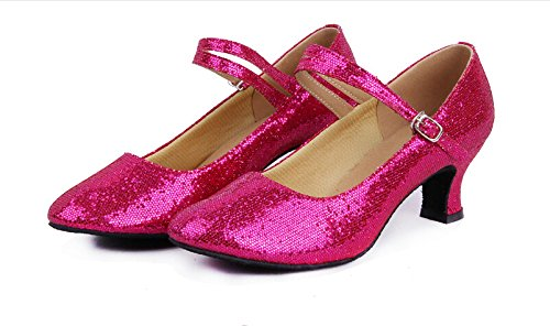 Ballroom Pointed Shoes Dance Y Pink toe Hot Latin Heels Glitter Dancing Strap Women's 7 tXgxII