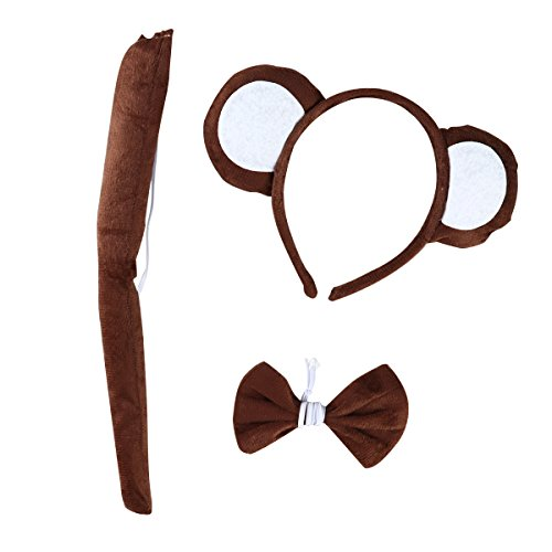 Make Tail Monkey Costume (Tinksky 3 Sets of Baby Kids Cute Cartoon Monkey Headband Bow Tie and Tail for Costume Party Halloween April Fool 's Day children's party)