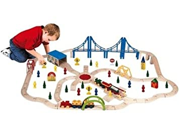 First Learning 100 Piece Super Wooden Train Set Amazoncouk Toys