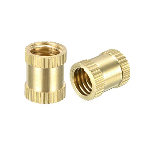 (uxcell Knurled Threaded Insert, M8 x 12mm (L) x 10mm (OD) Female Thread Brass Embedment Nuts, Pack of)