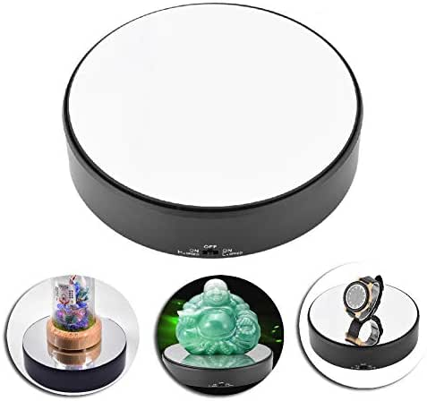 Motorized Turntable Display Rotating Display Stand Mirror Surface 360° Rotary Display Stand Adjustable Rotating Speed Turntable Jewelry Holder Display Jewelry Watch Digital Product Collectibles