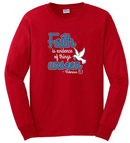 Bible Faith is Evidence Things Unseen Hebrews 11:1 Long Sleeve T-Shirt 4XL Red (Hebrew Long Sleeve T-shirt)