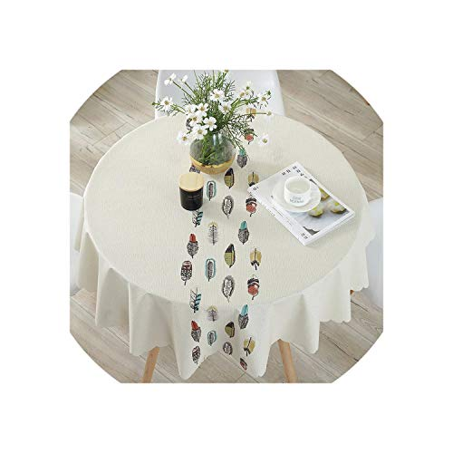 Table Cover Round Party Wedding Home Table Cloth Leaf Printed PVC Tablecloth for Kitchen Waterproof Oilproof,Little Feather,Diameter 100cm ()