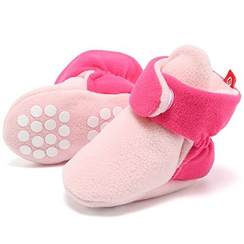 FANTINY Newborn Baby Cozy Fleece Booties with Non Skid Bottom,DNDXBX,Light Pink/Dark - Grip Velcro