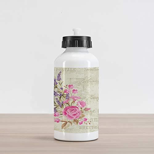 Postmark Originals (Lunarable Lavender Aluminum Water Bottle, Postal Stamps and Postmarks Grungy Backdrop Romantic Bridal Corsage, Aluminum Insulated Spill-Proof Travel Sports Water Bottle, Pale Pink Lavender Tan)