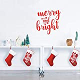 """Vinyl Wall Art Decal - Merry and Bright - 21"""" x 21"""" - Christmas Seasonal Holiday Decor Sticker - Indoor Outdoor Home Office Wall Door Window Bedroom Workplace Decals (21"""" x 21"""", Red)"""