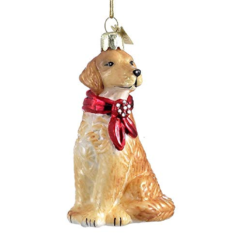 - Golden Retriever with Bow Ornament