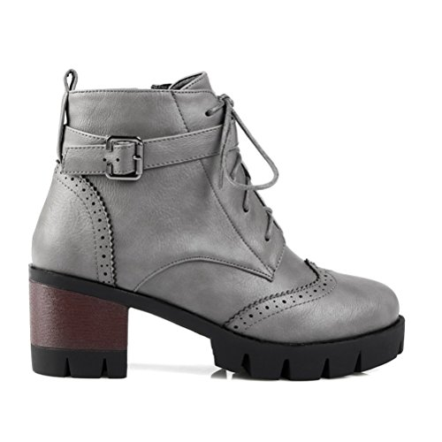 Up With Heel Buckles Women's Grey Boots Lace Mid Short Block Retro Agodor Ankle vpqYS