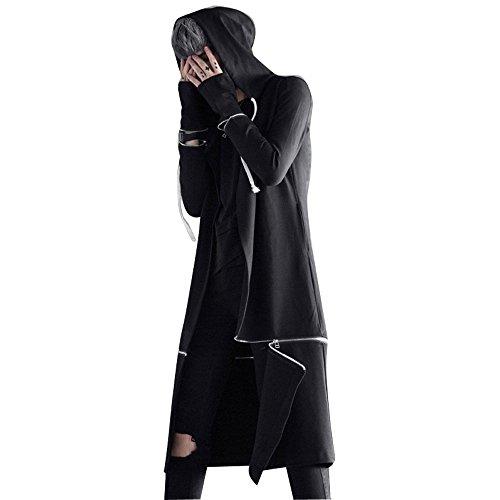 - Men's Long Hooded Cape Black Trench Coat Hip Hop Hoody Cardigan Jacket Punk Male Casual Overcoat