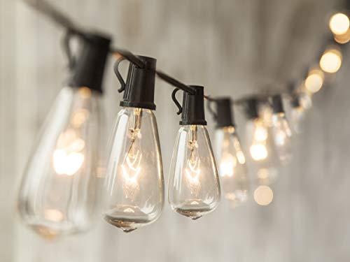 24 FT ST40 String Lights with 20 Cafe Bulbs- for Indoor/Outdoor Decor, Wedding Lights, Patio Lights, Outdoor String Lights, Globe Lights, Backyard Lights, for Market Cafe Gazebo Porch Party ,Black ()