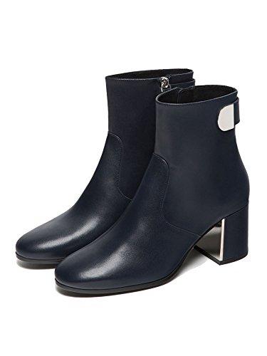 Massimo Dutti Femme Bottes en cuir noir bleues 1104/221