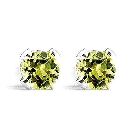Large 6mm Lime Green Peridot Gemstone Post Stud Earrings in Sterling Silver - August Birthstone