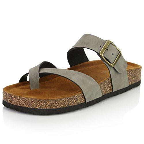 DailyShoes Women's Fashion Flat Thong Strap Buckle Sandal Shoes, Stone PU, 9 B(M) US -