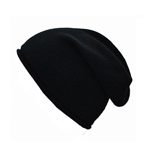 0c726084b6f Mens Ladies Luxury 100% Cashmere Slouchy Slouch Hat Beanie With Rolled  Edges (Black)  Amazon.co.uk  Clothing