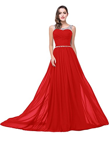 Chiffon Long Prom Dresses with Scoop Neck Beaded Mesh Bodice Evening Gown,Red,4 (Prom Beaded Mesh Dress)