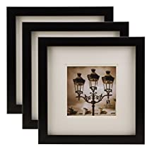 BorderTrends Nova 12x12-Inch Square Wall Frame with Mat for 7x7-Inch Photo, Black with White Mat (3-Pack)