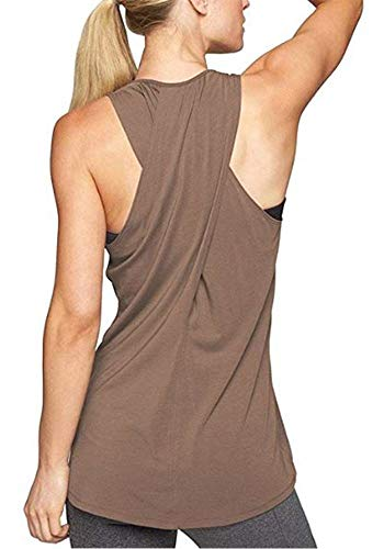 (Lofbaz Women's Junior Slim Fit Summer Yoga Tank Top Sleeveless Vest Camisole Simple Stretchy Loose Summer Exercise Racerback Shirt - Coffee - S)