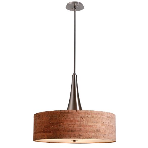 Column Table Lamp - Kenroy Home Modern 3 Light Pendant with Natural Cork Drum Shade, 3 Lights, 22 Inch Diameter, Brushed Steel Finish Center Column and Adjustable Height Rods, Diffuser Included
