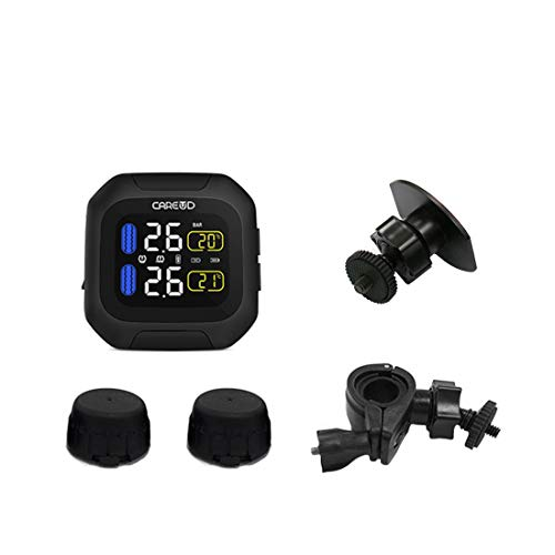 Careud M3WF Waterproof Motorcycle TPMS DIY Tire Pressure Monitoring System with 2pcs External Sensor (External Sensor)