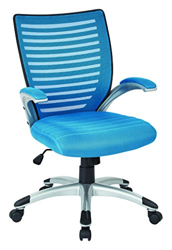 Work Smart EMH69096-7-osp Mesh Seat and Screen Back Managers Chair, Blue