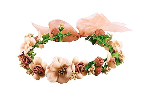 Flower Crown/ Wedding Hair Wreath Floral Headband Garland with Adjustable Ribbon for Wedding Festivals