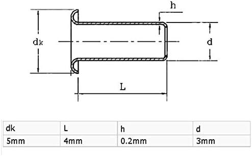 uxcell リベットナット 3mm x 4mm スルーホール PCB回路基板 中空銅リベット グロメット 100個入り