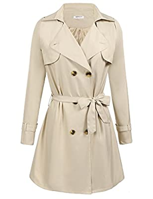 Hotouch Women's Double-Breasted Trench Coat Fit and Flare With Belt