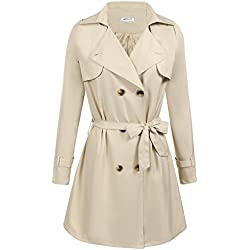 Women's Thigh-Length Front Wrap Trench Coat with Removable Belt