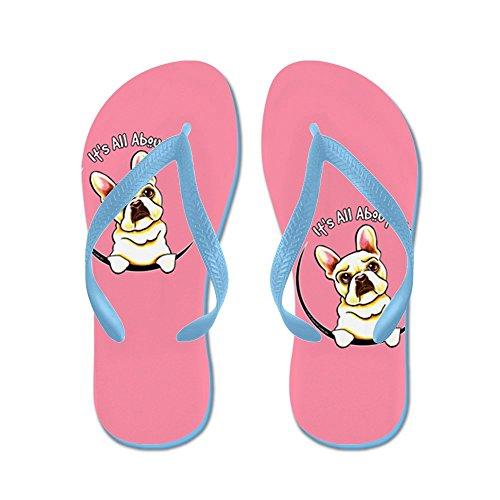 Cafepress Fawn Frenchie Iaam Pink - Flip Flops, Grappige String Sandalen, Strand Sandalen Caribbean Blue