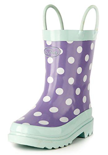 Outee Girls Kids Rubber Rain Boots Purple Waterproof Shoes Polka Dots Cute Print with Easy-On Handles Classic Comfortable Removable Insoles Anti-Slippery Durable Sole with Grip (Size 2,Purple) (Shoes Dots Polka Kids)