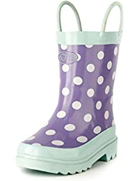 Toddler Kids Rain Boots Rubber Waterproof Shoes Cute Printed with Easy-On Handles