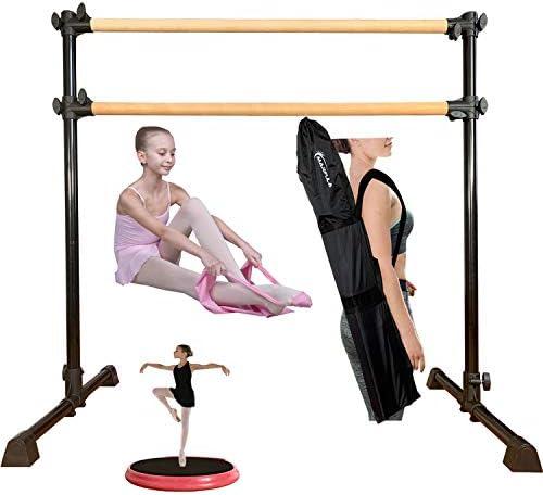 Marfula 4フィート 調節可能& ポータブル 自立 バレエ バレエ バー 木製バレエ バレー キャリーバッグとストレッチバンド付き