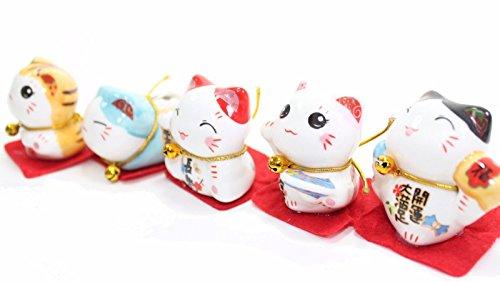 Set of 5 Japanese Maneki Neko Lucky Cat Figurines Cute Smiley Waving Lucky Fortune Cat US Seller