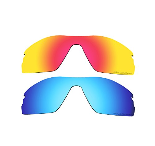 2 Pairs BVANQ Polarized Replacement Lenses Fire Red & Blue for Oakley Radar Pitch - Radar Sunglasses Pitch