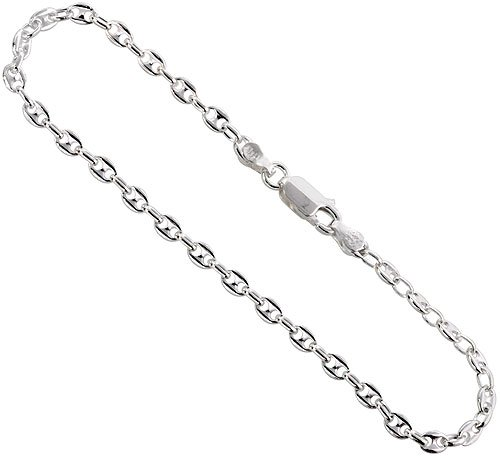 Sterling Silver Puffed Anchor Chain Necklace 3.4mm Nickel Free Italy, 30 inch (Solid Anchor Puffed)