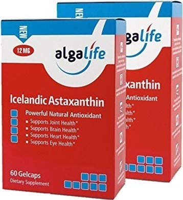 Icelandic Astaxanthin 60 Count - 12mg with Hi-Oleic Sunflower Oil - 60 GelCaps 12 mg of Pure Natural Astaxanthin - Pack of 2