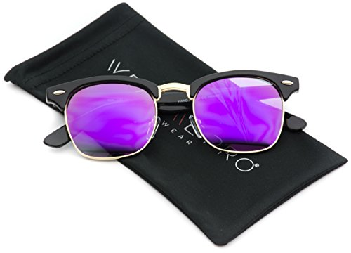 WearMe Pro - Clubmaster Style Sunglasses Retro Mirror Lens Sunglasses (Black Frame / Candy Purple Lens, - Frames Style Clubmaster
