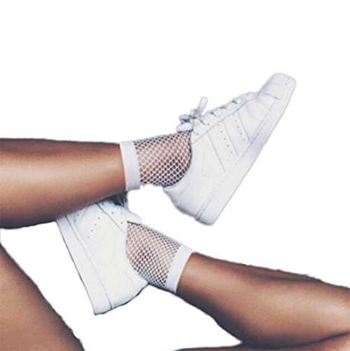 Women's Thick Mesh Socks Ankle High Socks (white) (White Fishnets)