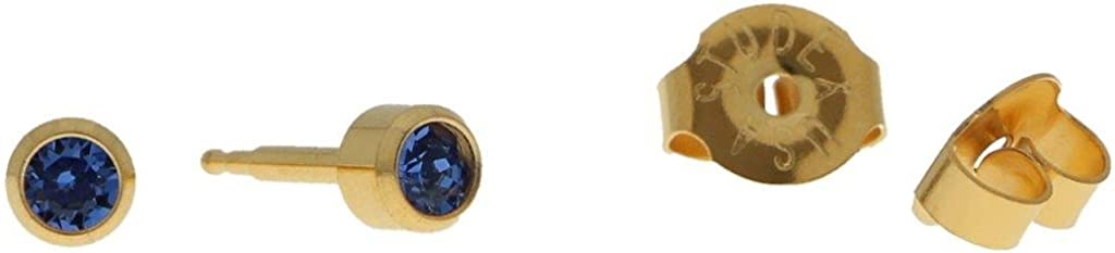 Erst Pendientes hartvergoldet estériles Pendientes Aro con piedra en color azul oscuro