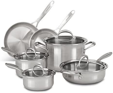 KitchenAid KC2CS10ST 5-ply Copper Core 10-Piece Set Cookware – Stainless Steel