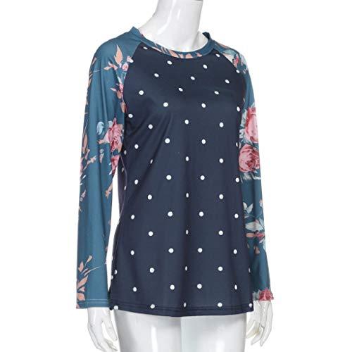 T Tefamore Manches Blouse MEIbax Shirt pour Femmes Longues de Bleu Les imprim Manches Longues Chemisier Pois Soie de Floral Manches Femmes Courtes pour Mousseline en Couleur dESqrwqn