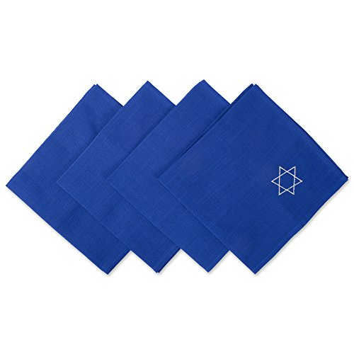 DII 100% Polyester, Oversized Embroidered Star of David Napkins, 20x20, Set of 4, Blue