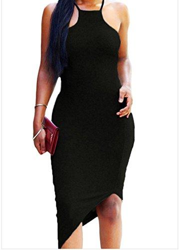 Yeeatz Oblique Hem Spaghetti Strap Bodycon Dress Black M