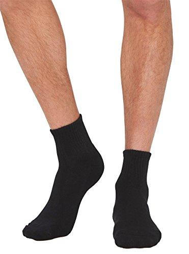 Boody Body EcoWear Men's High Top Quarter Crew Sock, Black, Size 6-11