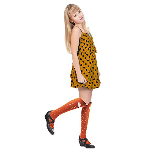 6 Pack Girls Socks, Cotton Over Calf Knee High Socks (Cartoon Animal Panda Cat Bear Fox) by Fansco (Image #2)