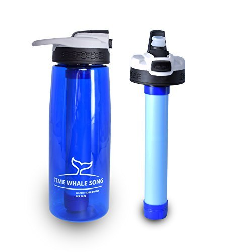 750ml Water Filter Bottle, BPA Free Hiking Water Bottle with 2-Stage for Hiking Camping and Travel, Survival or Emergency Filter kit with soft straw & straw cleaning brush & Hook by TIME WHALE SONG (Travel Stage)