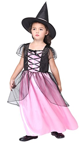 [Woo2u Masquerade Halloween Party Girls Witch Cosplay Costume Fairy Dress Pink M] (Middle Eastern Girl Costume)